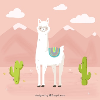Funny alpaca mountain background