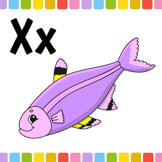 面白いアルファベット。 abcフラッシュカード。白い背景に分離された漫画かわいいキャラクター。