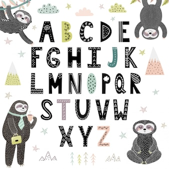 Funny alphabet with cute sloths