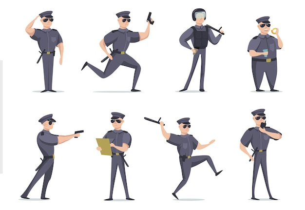 Funny american policeman in different poses flat item set