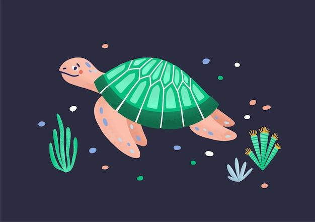 재미있는 재미있는 바다 거북 수영