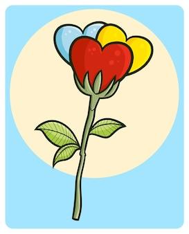 Забавный и красивый трехцветный цветок любви в стиле каракули