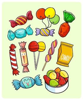Веселые и красочные коллекции конфет в простом стиле каракули
