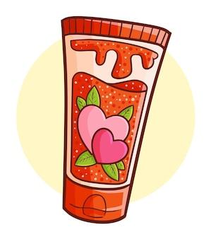 Забавный и милый тюбик лосьона любви в простом стиле каракули