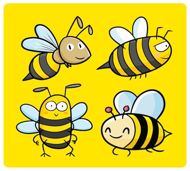 카와이 낙서 스타일의 재미있고 귀여운 꿀벌 컬렉션