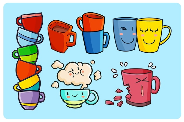 귀엽다 낙서 스타일의 재미 있고 귀여운 컵 또는 머그잔 컬렉션