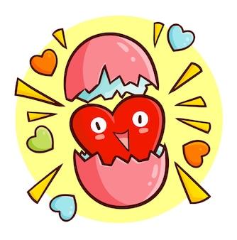 Забавный и милый талисман сердца выходит из яйца в стиле каракули каваи