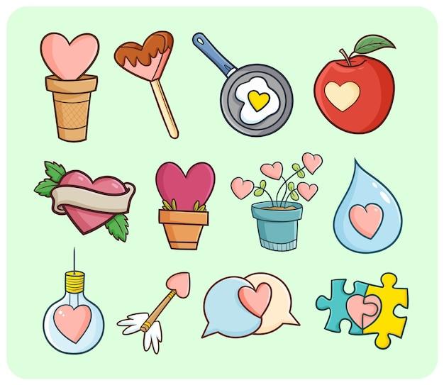 Забавные и милые символы сердца во многих предметах в простом стиле каракули