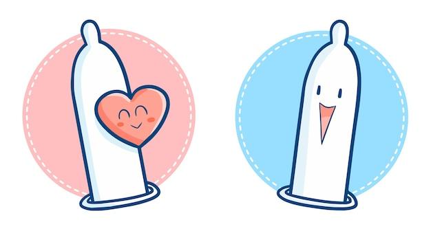 ハートのシンボルで楽しく笑っている面白いとかわいいかわいいコンドーム