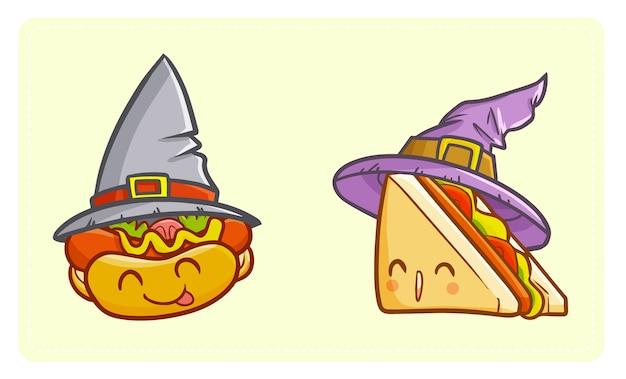 面白いとかわいいカワイイホットドッグとサンドイッチハロウィーンの魔女帽子をかぶっています。