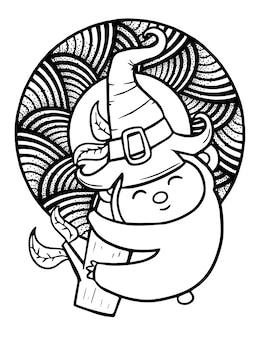 ハロウィーンのための魔女の帽子をかぶって枝を保持している面白いとかわいいかわいいコアラ-ぬりえ