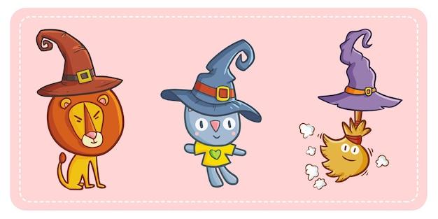 재미 있고 귀여운 kawaii 사자, 고양이 및 할로윈 마녀 모자를 쓰고 빗자루.