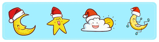 クリスマスにサンタの帽子をかぶって面白いとかわいいかわいい月、星、雲と太陽