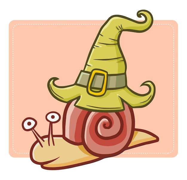 面白いとかわいいかわいいカタツムリがクロールし、ハロウィーンの魔女の帽子をかぶっています。
