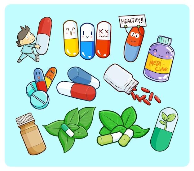 Забавная и милая тема медицины в простом стиле каракули