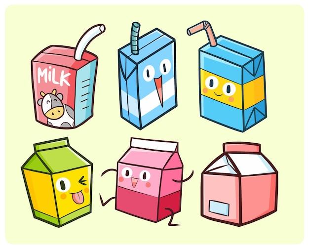 귀엽다 낙서 스타일의 재미 있고 귀여운 우유 상자 컬렉션