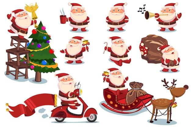Забавные и милые санта-клаус и рождественские элементы векторных персонажей мультфильма установлены изолированными на белом фоне.