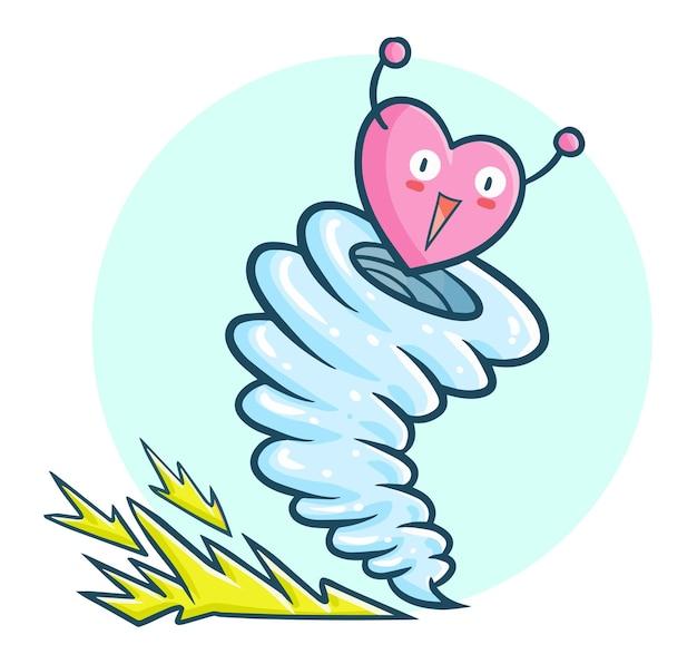 Забавный и милый торнадо любви в стиле каракули каваи
