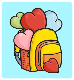 Забавный и милый желтый рюкзак с сердечками в простом стиле каракули