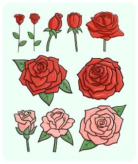 낙서 스타일의 재미 있고 우아한 발렌타인 장미