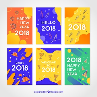 Funny and flat new year 2018 cards