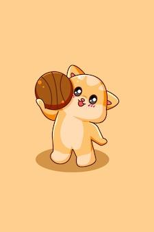 Забавный и счастливый кот с баскетбольной иллюстрацией шаржа