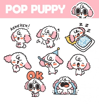 재미 있고 사랑스러운 팝 강아지 볼륨 1 스티커 자산 그림. 앱, 프로젝트에 적합합니다. 인쇄