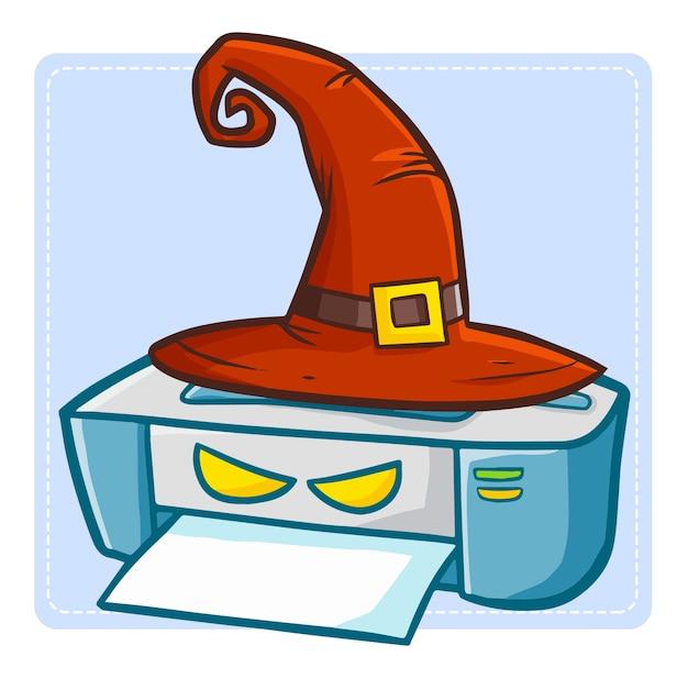 할로윈 이벤트를 위해 마녀 모자를 쓰고 재미 있고 무서운 kawaii 프린터