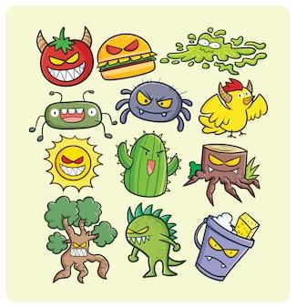 만화 스타일의 재미 있고 무서운 괴물 컬렉션