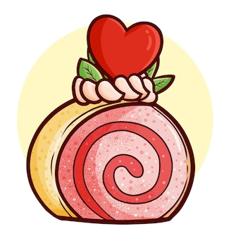 Смешные и сладкие валентинки, катящие хлебный торт в простом стиле каракули