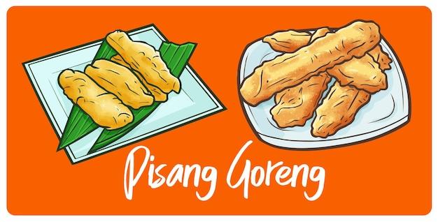 낙서 스타일의 재미있고 맛있는 튀긴 바나나 인도네시아 스낵