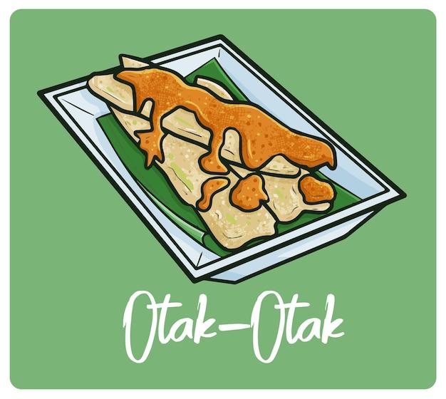 재미 있고 맛있는 otak otak 낙서 스타일의 인도네시아 간식