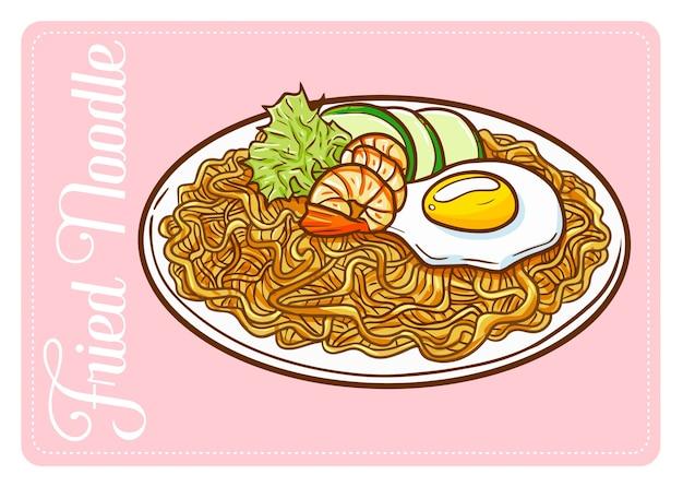 Веселая и вкусная жареная лапша из морепродуктов. культурная азиатская лапша с добавлением морепродуктов.