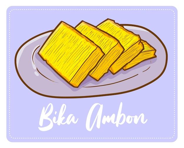Веселая и вкусная сладкая индонезийская закуска «бика амбон» с острова суматера.
