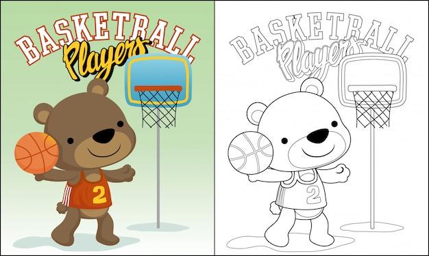 Funny animal basketball player cartoon