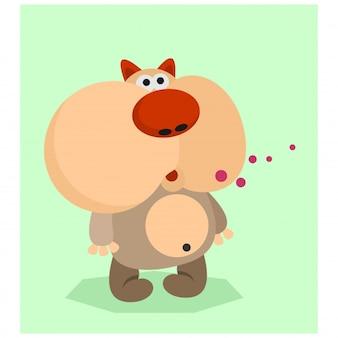 Funny animal big cheek rodent mascot cartoon character