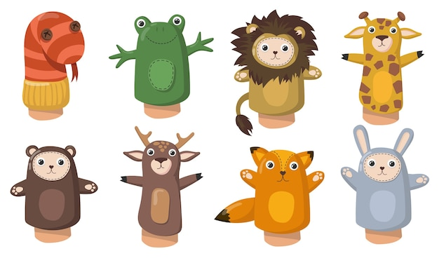 Funny animal hand puppets flat set for web design. cartoon toys from socks for kids isolated vector illustration collection. show and home theatre concept
