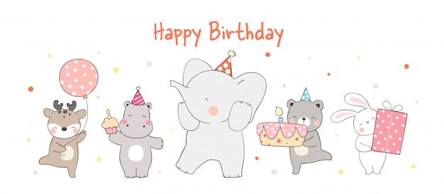 Funny animal party on white for birthday.