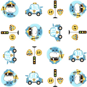 Funny animal police cartoon with patrol car and traffic signs on pattern vector