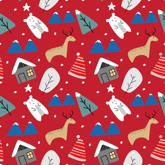Funny animal reindeer winter seamless pattern for christmas
