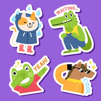 Funny animal sticker set in hand drawn