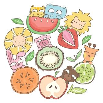 面白い動物や果物のイラスト