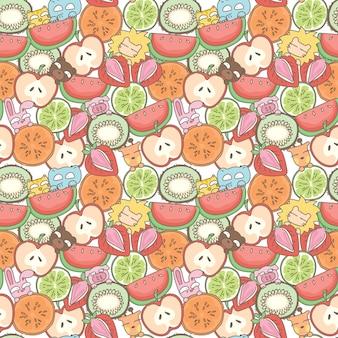 面白い動物や果実のシームレスなパターンの背景