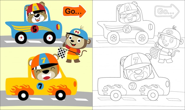 Funny animals cartoon in car race track