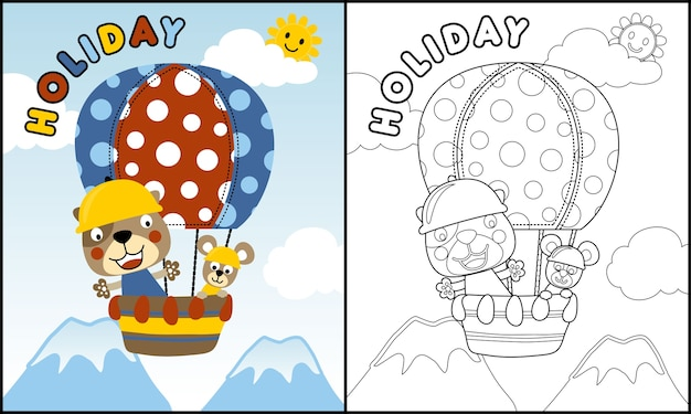 Funny animals cartoon on hot air balloon