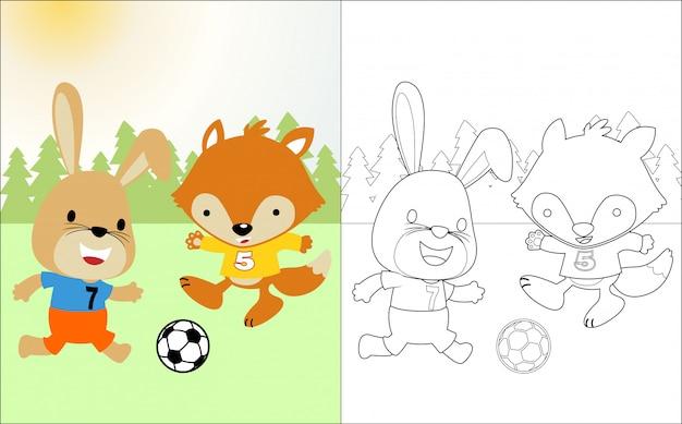 Funny animals cartoon playing soccer