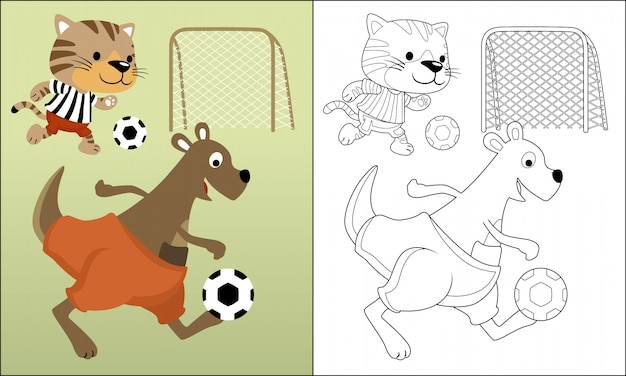 Funny animals cartoon playing soccer