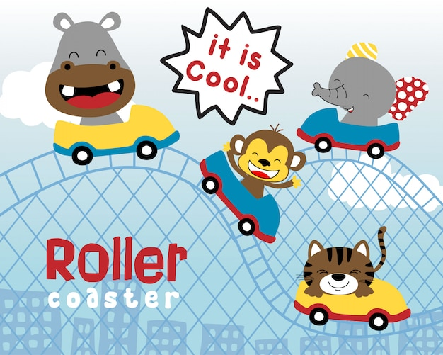Funny animals cartoon on roller coaster