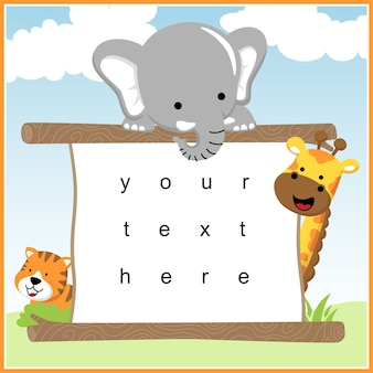 Funny animals cartoon with text template