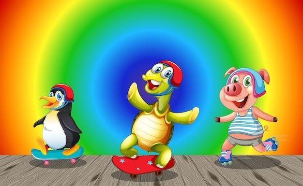 虹のグラデーションの背景でさまざまな活動をしている面白い動物